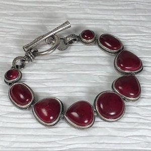 Lucky Brand Bracelet Silver tone Bloodstone Toggle